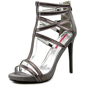 C Label Shoes - Olivia Pewter Iridescent T-Strap Heels